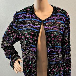 Papell Boutique Silk Beaded Colorful Sequin Jacket